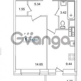 Продается квартира 1-ком 35.6 м² Европейский проспект 14, метро Улица Дыбенко