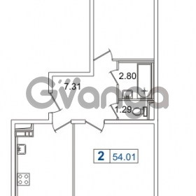 Продается квартира 2-ком 54.01 м² Европейский проспект 14, метро Улица Дыбенко