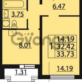 Продается квартира 1-ком 33.73 м² Парашютная улица 54, метро Комендантский проспект