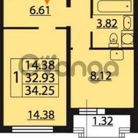 Продается квартира 1-ком 34.25 м² Парашютная улица 54, метро Комендантский проспект