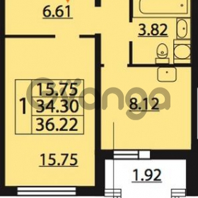 Продается квартира 1-ком 36.22 м² Парашютная улица 54, метро Комендантский проспект