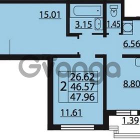 Продается квартира 2-ком 47.96 м² Парашютная улица 54, метро Комендантский проспект