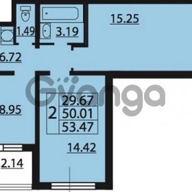 Продается квартира 2-ком 53.47 м² Парашютная улица 54, метро Комендантский проспект