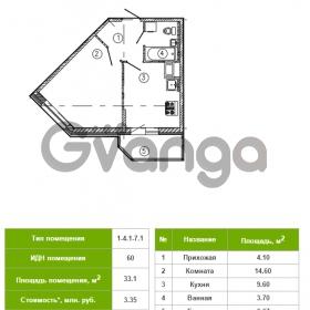 Продается квартира 1-ком 33 м² Русановская улица 15к 1, метро Пролетарская