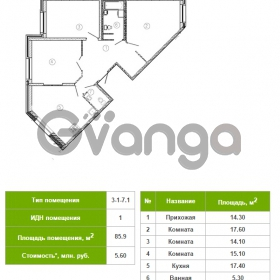 Продается квартира 3-ком 85 м² Русановская улица 17к 1, метро Пролетарская