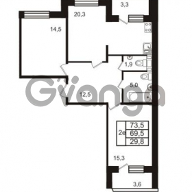 Продается квартира 2-ком 73.5 м² Колтушское шоссе 66, метро Ладожская