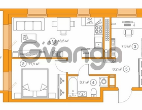 Продается квартира 1-ком 49.1 м² Комендантский проспект 58к 1, метро Комендантский проспект