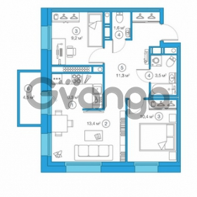 Продается квартира 2-ком 55.89 м² Комендантский проспект 58к 1, метро Комендантский проспект