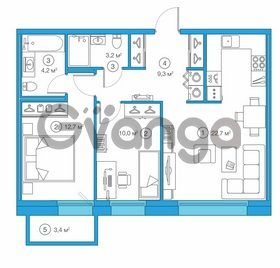 Продается квартира 2-ком 57.24 м² Комендантский проспект 58к 1, метро Комендантский проспект