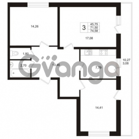 Продается квартира 3-ком 71.5 м² Охтинская аллея 1, метро Девяткино