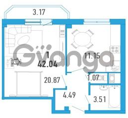 Продается квартира 1-ком 42 м² улица Шувалова 1, метро Девяткино