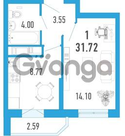 Продается квартира 1-ком 31 м² улица Шувалова 1, метро Девяткино