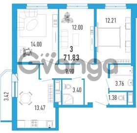 Продается квартира 3-ком 71 м² улица Шувалова 1, метро Девяткино