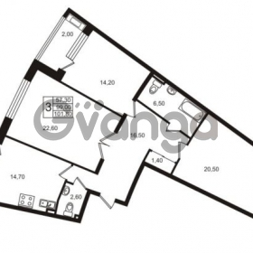 Продается квартира 3-ком 99 м² Приморский проспект 44, метро Старая деревня