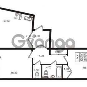 Продается квартира 2-ком 86.2 м² Приморский проспект 44, метро Старая деревня