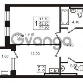 Продается квартира 1-ком 44.9 м² Приморский проспект 44, метро Старая деревня