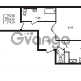 Продается квартира 2-ком 71.5 м² Приморский проспект 44, метро Старая деревня