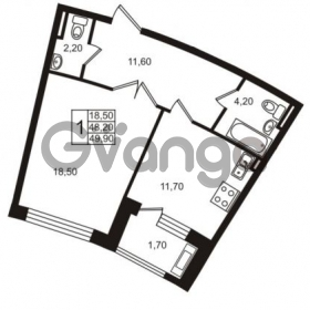 Продается квартира 1-ком 49.9 м² Приморский проспект 44, метро Старая деревня