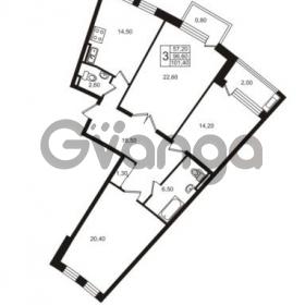 Продается квартира 3-ком 101.4 м² Приморский проспект 44, метро Старая деревня