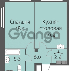 Продается квартира 1-ком 51.6 м² улица Кременчугская 13к А, метро Площадь Восстания