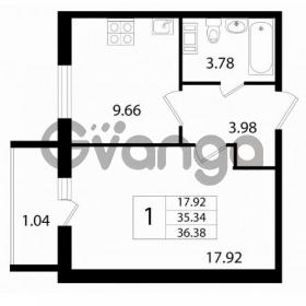 Продается квартира 1-ком 36.38 м² Австрийская улица 3, метро Улица Дыбенко