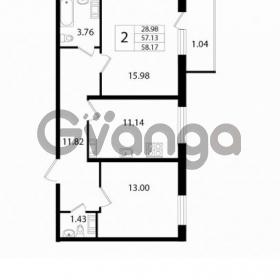 Продается квартира 2-ком 57.13 м² Австрийская улица 3, метро Улица Дыбенко