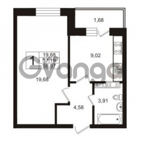 Продается квартира 1-ком 37.19 м² Австрийская улица 3, метро Улица Дыбенко