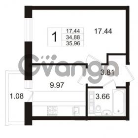 Продается квартира 1-ком 34.88 м² Австрийская улица 4, метро Улица Дыбенко