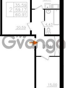 Продается квартира 2-ком 59.17 м² Почтовая улица 8, метро Ладожская
