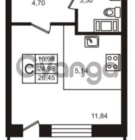 Продается квартира 1-ком 24.98 м² улица Кирова 11, метро Улица Дыбенко