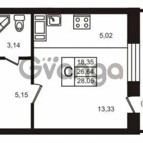 Продается квартира 1-ком 26.64 м² улица Кирова 11, метро Улица Дыбенко