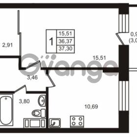 Продается квартира 1-ком 36.37 м² улица Кирова 11, метро Улица Дыбенко
