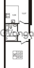 Продается квартира 1-ком 43.63 м² улица Кирова 11, метро Улица Дыбенко