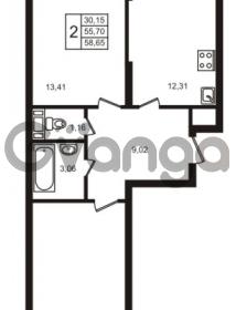 Продается квартира 2-ком 55.7 м² улица Кирова 11, метро Улица Дыбенко