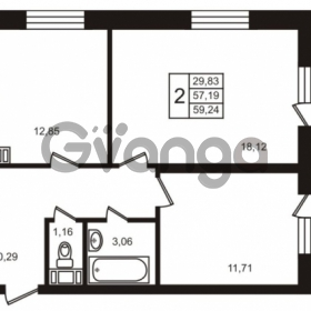 Продается квартира 2-ком 57.19 м² улица Кирова 11, метро Улица Дыбенко