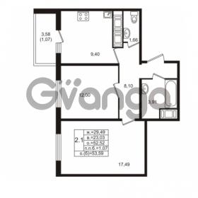 Продается квартира 2-ком 52.52 м² проспект Энергетиков 9, метро Ладожская