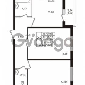Продается квартира 2-ком 57.07 м² проспект Энергетиков 9, метро Ладожская