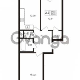 Продается квартира 2-ком 53.05 м² Школьная улица 7к 2, метро Купчино