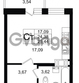 Продается квартира 1-ком 24.38 м² Петровский бульвар 1, метро Девяткино