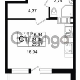 Продается квартира 1-ком 24.05 м² улица Шувалова 1, метро Девяткино