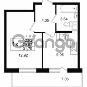 Продается квартира 1-ком 29.67 м² улица Шувалова 1, метро Девяткино