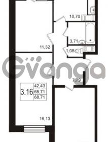 Продается квартира 3-ком 68 м² Новая улица 15, метро Ладожская