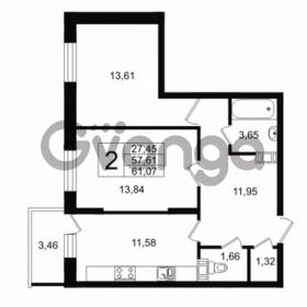 Продается квартира 2-ком 61 м² Приморский проспект 52, метро Старая деревня
