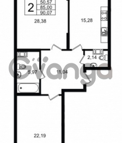 Продается квартира 2-ком 90 м² Приморский проспект 52, метро Старая деревня