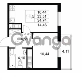 Продается квартира 1-ком 33.51 м² Комендантский проспект 53к 1, метро Комендантский проспект