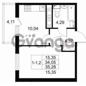 Продается квартира 1-ком 34.05 м² Комендантский проспект 53к 1, метро Комендантский проспект