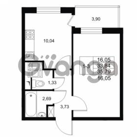 Продается квартира 1-ком 33.84 м² Комендантский проспект 53к 1, метро Комендантский проспект