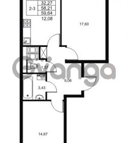 Продается квартира 2-ком 58.21 м² Комендантский проспект 53к 1, метро Комендантский проспект
