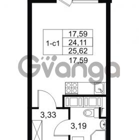 Продается квартира 1-ком 24.11 м² Комендантский проспект 53к 1, метро Комендантский проспект