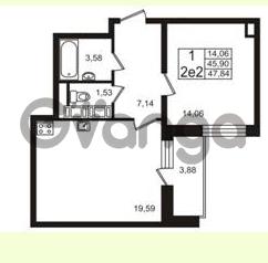 Продается квартира 1-ком 45.9 м² Европейский проспект 4к 2, метро Улица Дыбенко